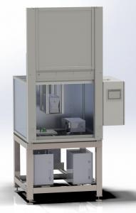 mit 2 im Laserschutzraum positionierten Markierköpfen zur Beschriftung mehrerer Bauteiltypen.