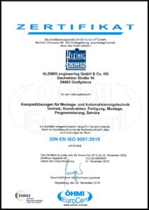 KLEINIG Zertifikat DIN EN ISO 9001-2015